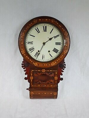 Antique American inlaid drop dial wall clock - Full working order