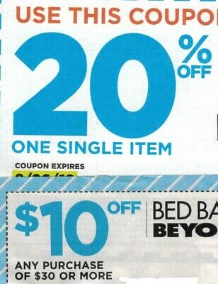 Bed Bath Beyond Coupons(3)20% Off One Item(1)$10 Off $30 EXP SEP & OCT 2019