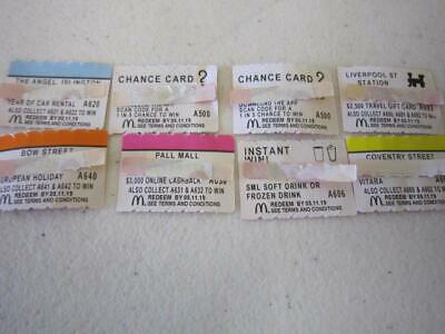 8 x Mcdonalds 2019 Monopoly Unused Tokens Including Chance Cards & Instant Win