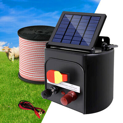 New 5km Solar Power Electric Fence Charger Kit Farm Fencing Tape Insulator Sign