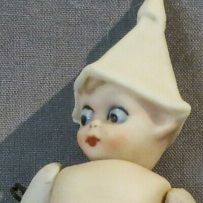 """Antique German all bisque 4"""" elfin doll with googly glass eyes"""