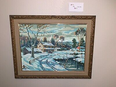 VTG 1955 PAINT by NUMBERS Country Winter Scene Snow House Car Framed 18x24
