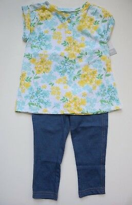 NWT Carter's 2pc Yellow Floral Tunic Top & Denim Leggings Girls size 24 months