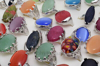 Silver plated rings set assorted natural gemstone beads stone finger ring 5pcs