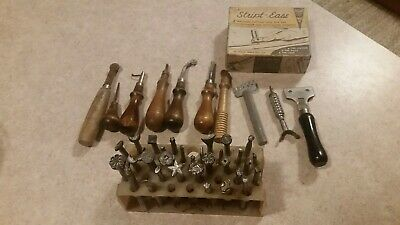 Craftool Co. USA Leather Stamping Tools Huge Lot Of 32 with extras.