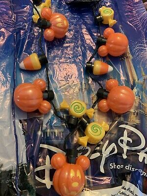 Disney Parks Halloween 2019 Mickey Pumpkin Glow Light Up Necklace Candy Corn New