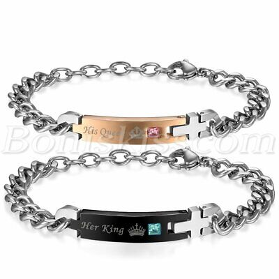 2pcs Unique His Queen/Her King CZ Stainless Steel Couples Gift Bracelet Chain