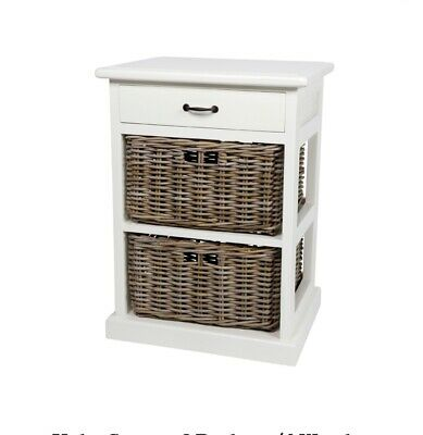2 drawer wicker side table-White