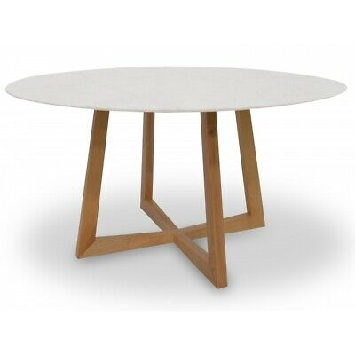 Italian Carrarra 1.5m Round Marble Dining Table - Natural