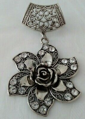 Large Silver Coloured Flower  Pendant with Rhinestones