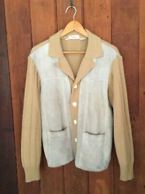 FUNKY VINTAGE 70S LEATHER/ACRYLIC KNIT CARDIGAN by BISLEY! GROOVY AS! S-M