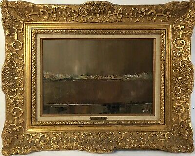 Franz Schlitz (French b 1934) 20th C Abstract Oil Painting Antique Style Frame