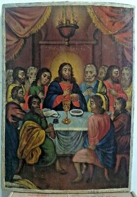 """Antique 19c Rus Orth Hand Painted Wood Icon """"Last supper"""""""