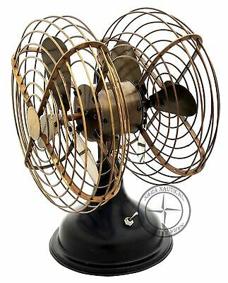 Vintage Antique Brass Double Sided Fan w 3 Blades Collectible Working Table Fan