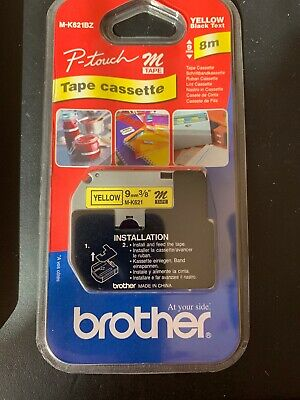 Brother P-touch M-K621BZ (9mm x 8m) Black on Yellow Labelling Tape