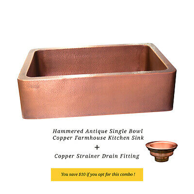 Copper Farmhouse Sink Single Bowl Antique Hammered Finish with Strainer Drain
