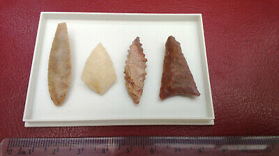 4 x Neolithic flint arrow heads , in clear top display box ...pre historic tools