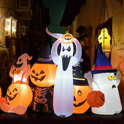 6' Halloween Inflatable Air Blown Ghost with Pumpkin Yard Decoration