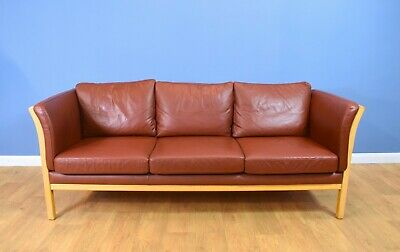 Mid Century Retro Danish Friis Mobler Chestnut Brown Leather 3 Seat Sofa Settee