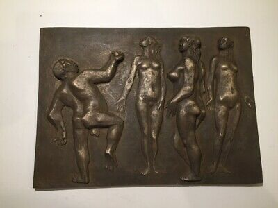 Antique/Vintage, bronze look, Very rare erotic Art Deco relief plaque