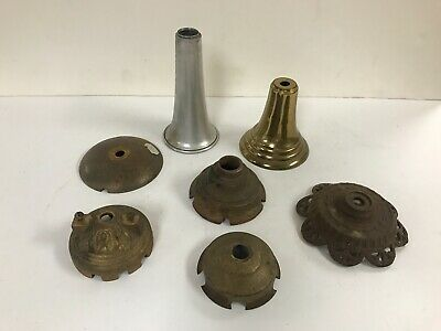 Antique assorted lot authentic 1940s ceiling slip shade light fxture lamp parts