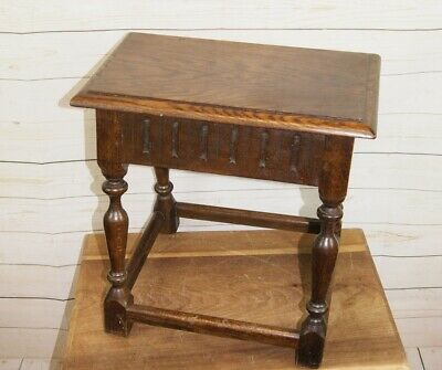 Traditional Antique Style Joint Tavern Stool, Side Occasional Table Lamp Plant S
