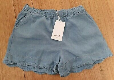 BNWT Seed Heritage Girls Chambray Shorts Size 9 - RRP $34.95