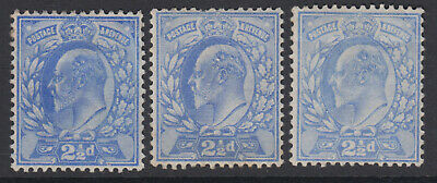SG 230-1  2 1/2d  Ultramarine M16 (1-3) shades trio in average mounted mint .