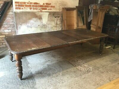 fantastic victorian 12 seat carved oak extending table over 9ft for restoration