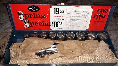 Vintage SK Wayne 1/2 Drive Ratchet , Sockets , Wrenches ~ NEW IN BOX!!