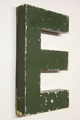 """1930s Antique French Shop Letter Sign E Green Metal 10"""" Bar Reclaimed Industrial"""