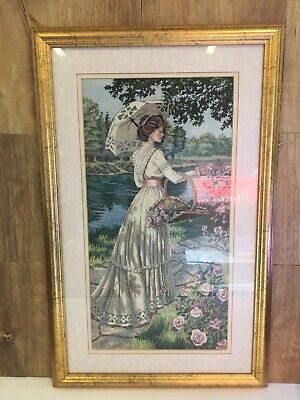 Vintage Framed Cross Stitch Garden Lady Large Picture by D Schahill
