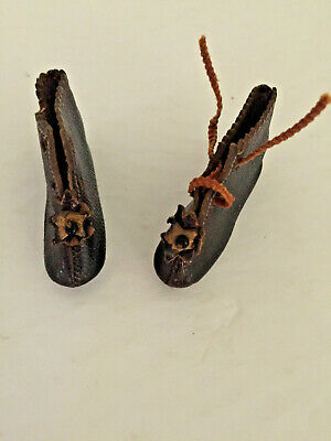 Antique Leather French ? DOLL SHOES Signed JJ Incised 4