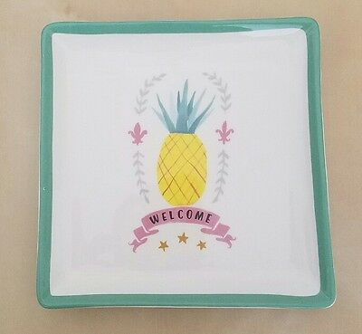 "BRAND NEW MAGENTA ""WELCOME"" PINEAPPLE SQUARE PLATE TRAY Summer Home Decor"