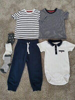 Mixed Bundle Of Boys Clothes Aged 18-24mths. Joggers, T Shirts, Bodysuit & Socks
