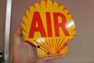 Shell Gasoline Eco Air Station Porcelain Sign Gas Oil Car Farm Clam Shell Stripe