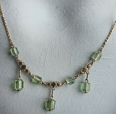 Vintage 1930s Art Deco Green Glass Gold Brass Wire Necklace