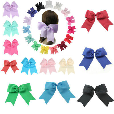 """With Bows Cheer 2Pcs Clips 8"""" Ribbon Party Alligator Cheerleader Bow Large Hair"""
