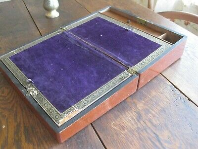 Antique Travel Lap Desk Writing Slope Box Opens to Velvet Surface Ink & Pens box