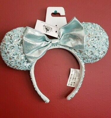 NEW Disney Parks Blue Frozen Arendelle Aqua Minnie Mouse Ears Sequin Headband