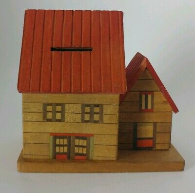 Vintage Wooden House Bank Marked Made In Japan Box