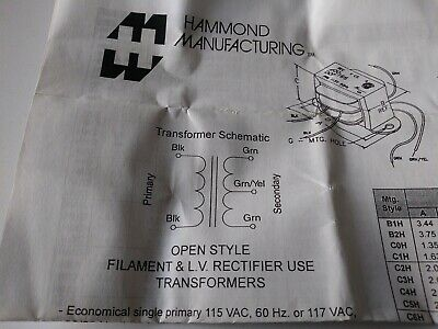 Hammond Manufacturing 166K2 Filament L.V. Rectifier Open Style Transformer