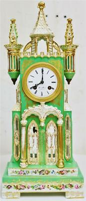Glorius Antique French Empire Silk Suspension Cathedral Porcelain Mantel Clock
