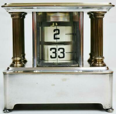 Extremely Rare Antique French Silver Plated & Brass 8 Day Flip Ticket Clock