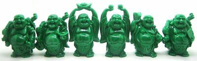 Set of 6 Feng Shui Green Laughing Buddha Figurine