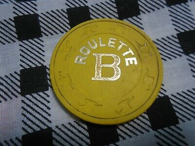 Antique/Vintage Yellow & Gold Pam Top Hat & Cane Roulette (B) Clay Poker Chips