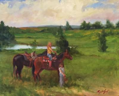 Painting Girls Horses Berry Picking Wagon Races OK oil painting Margaret Aycock