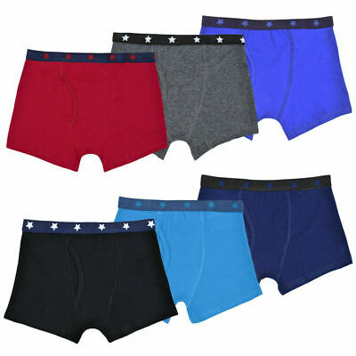 Boys 12 Pack Trunks With Keyhole Casual Boxer Shorts Cotton Rich Underwear Brief