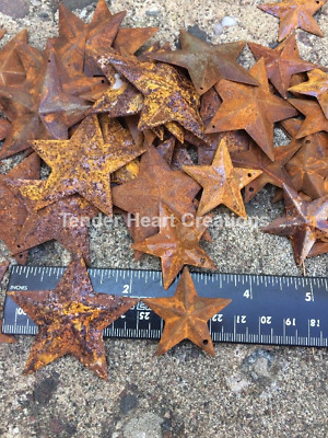 """20 Total Rusty Stars 10- 2.25"""" & 10- 1.5"""" Country Metal Barn Star Craft Supplies"""
