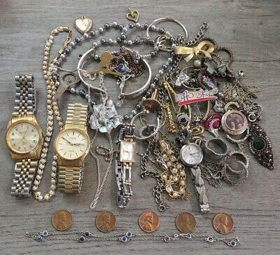 Junk Lot Of Costume & Sterling Silver Jewelry - Watches, Gold Filled & Coins -